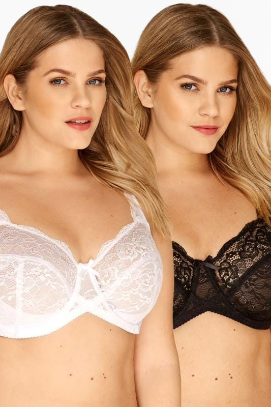 Plus Size Underwired Bras Tallas Grandes 2 PACK Black & White Lace Wired Bras