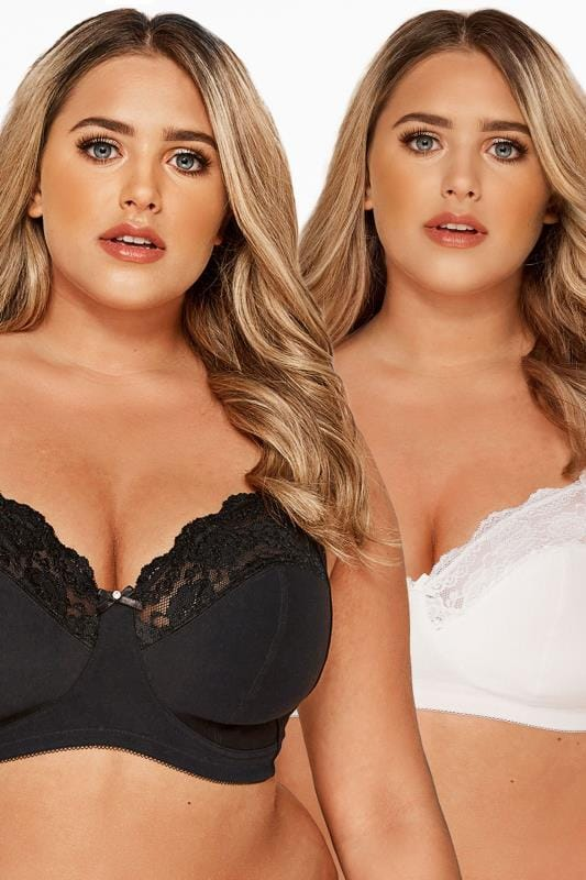 Plus Size Non-Wired Bras Tallas Grandes 2 PACK Black & White Non-Wired Soft Cup Bras