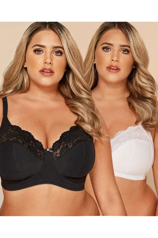 2 PACK Black & White Non-Wired Soft Cup Bras