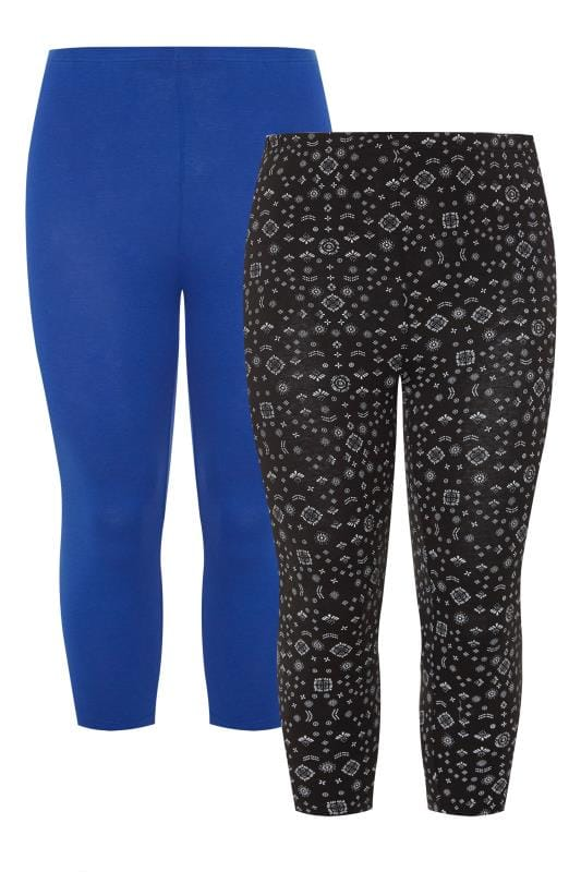 2 PACK Cobalt Blue & Black Mixed Print Cropped Leggings