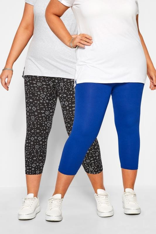 Plus Size Cropped & Short Leggings 2 PACK Cobalt Blue & Black Mixed Print Cropped Leggings