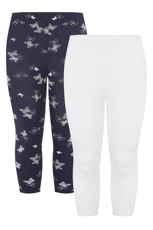 2 PACK Navy Butterfly Print Cropped Leggings