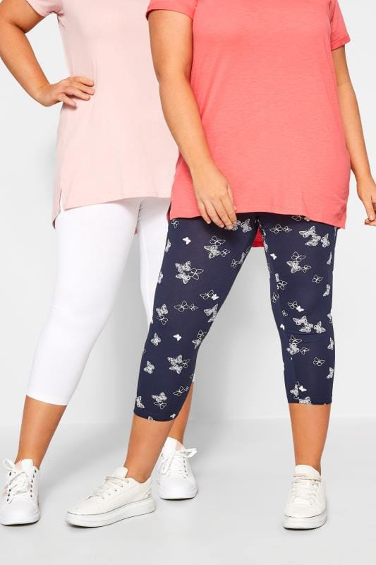Corsage Tallas Grandes 2 PACK Navy Butterfly Print Cropped Leggings