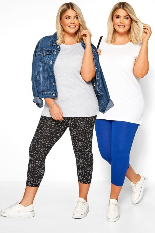 Plus Size Corsage 2 PACK Cobalt Blue & Black Mixed Print Cropped Leggings
