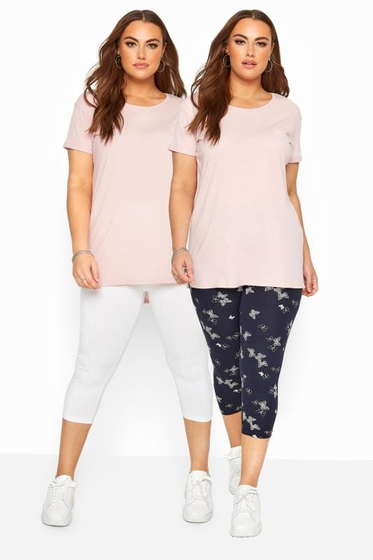 Plus Size Corsage 2 PACK Navy Butterfly Print Cropped Leggings