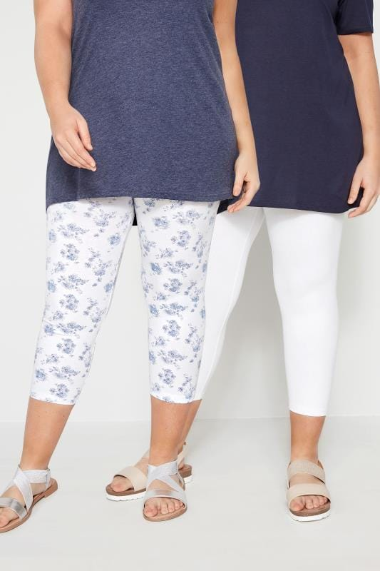 Plus Size Cropped Leggings 2 PACK White & Blue Cropped Floral Leggings