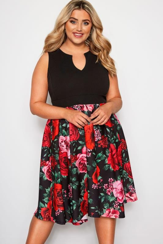 Plus Size Evening Dresses YOURS LONDON Black Floral Rose Skater Dress