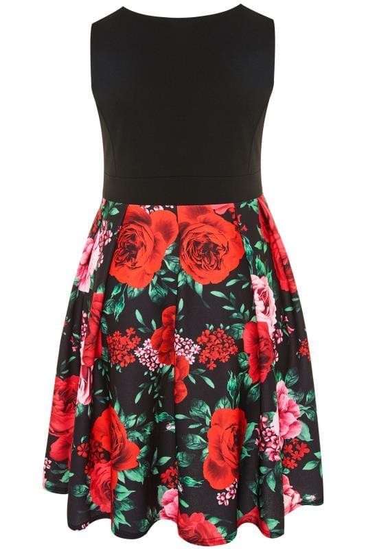 YOURS LONDON Black Floral Rose Skater Dress