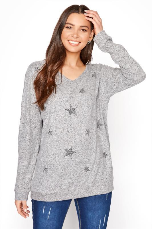 LTS Star Diamante V-Neck Top
