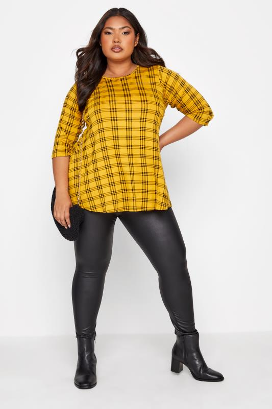 LIMITED COLLECTION Mustard Yellow Check Print Swing Top_17.jpg