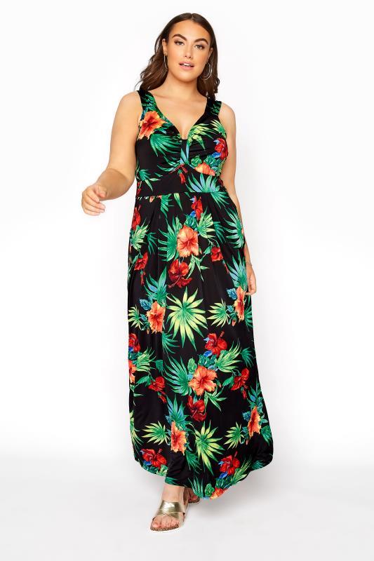 Schwarzes Maxi Kleid mit buntem tropischem Print