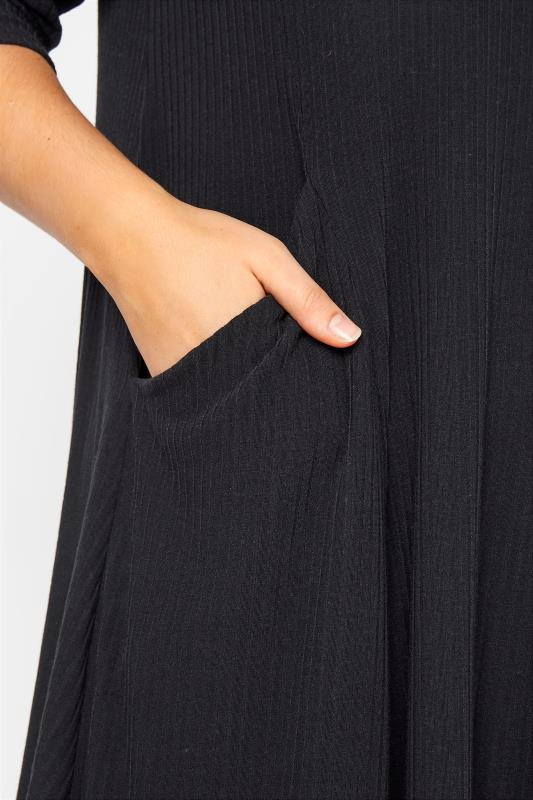 Black Ribbed Drape Pocket Dress_D.jpg