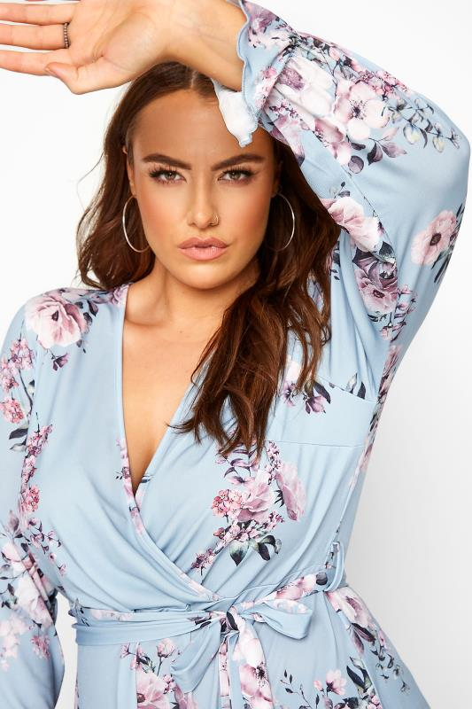 YOURS LONDON Baby Blue Floral Wrap Top