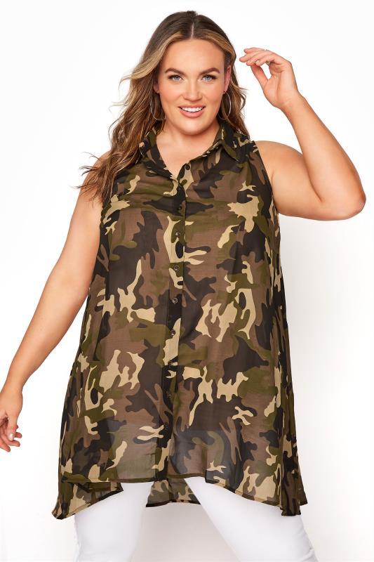 Plus Size  Khaki Camo Sleeveless Shirt