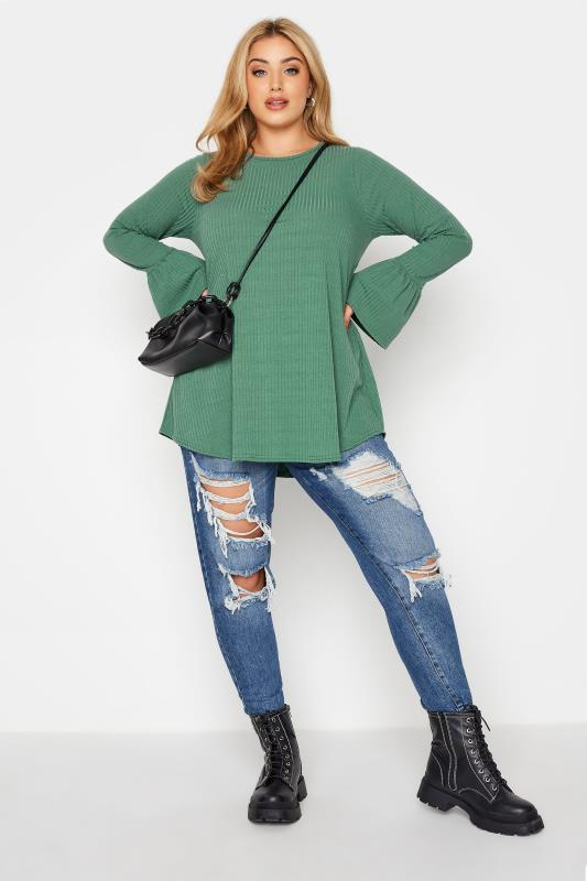 LIMITED COLLECTION Sage Green Ribbed Flare Long Sleeve Top_B.jpg