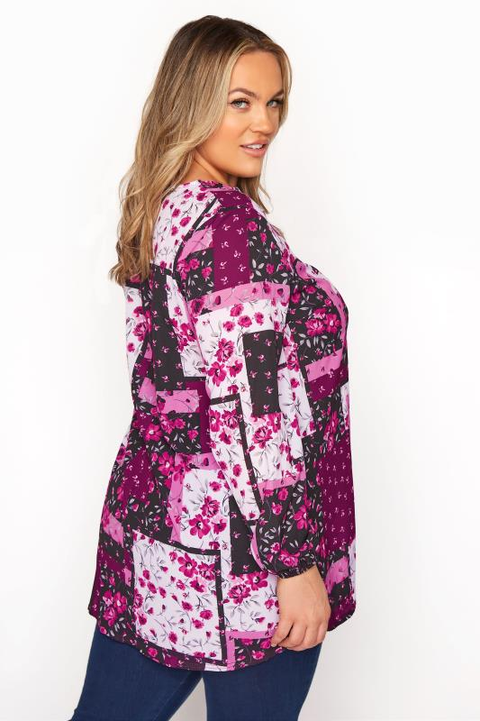 YOURS LONDON Pink Floral Patchwork Blouse_C.jpg