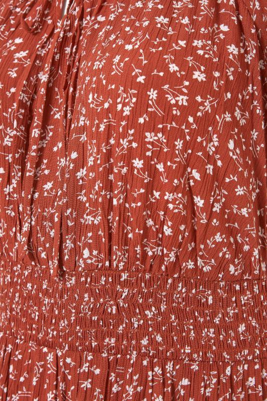 Rust Ditsy Puff Sleeve Boho Smock Maxi Dress_S.jpg
