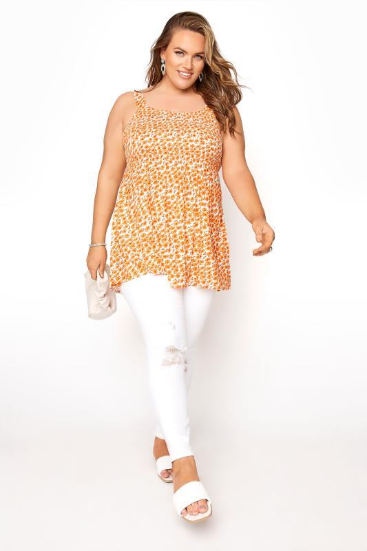Orange Floral Shirred Smock Vest Top_B.jpg