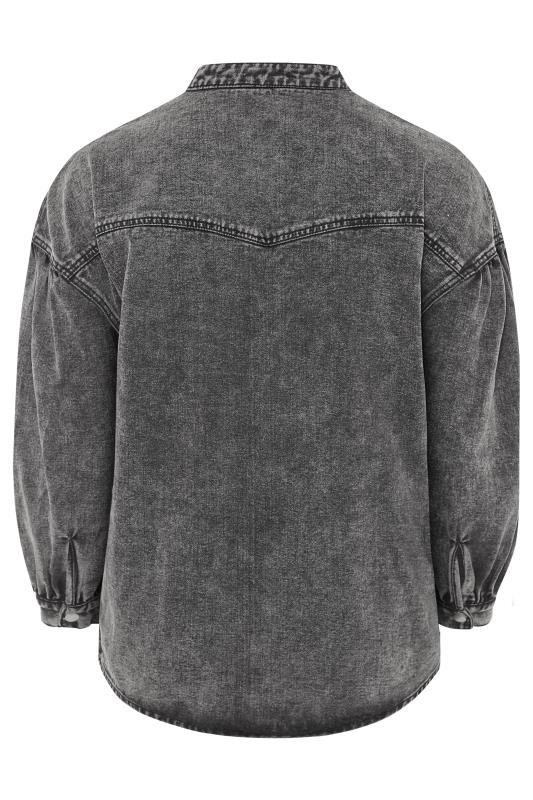 Grey Acid Wash Balloon Sleeve Denim Jacket