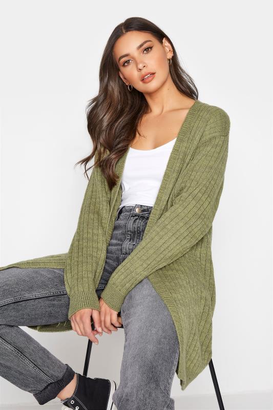 Tall  LTS Khaki Knitted Cardigan