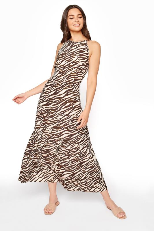 Neutral Animal Print Tiered Shirred Back Summer Dress_B.jpg