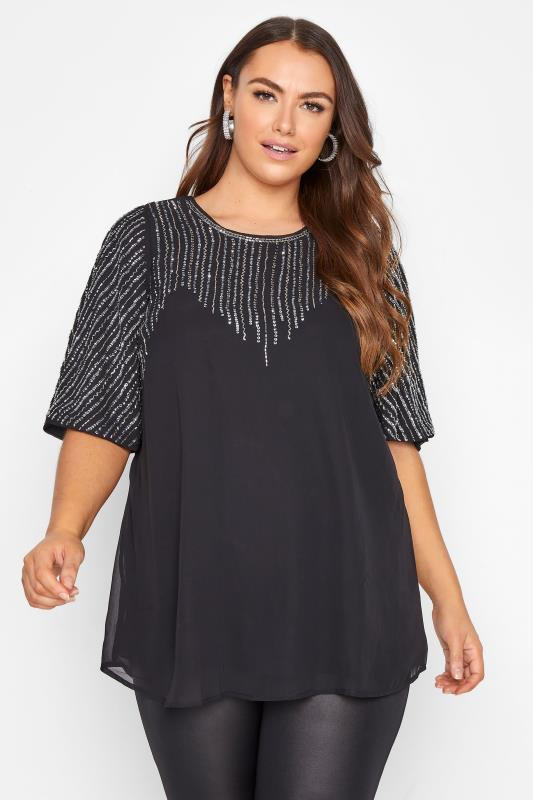 Plus Size  LUXE Black Hand Embellished Sweetheart Blouse