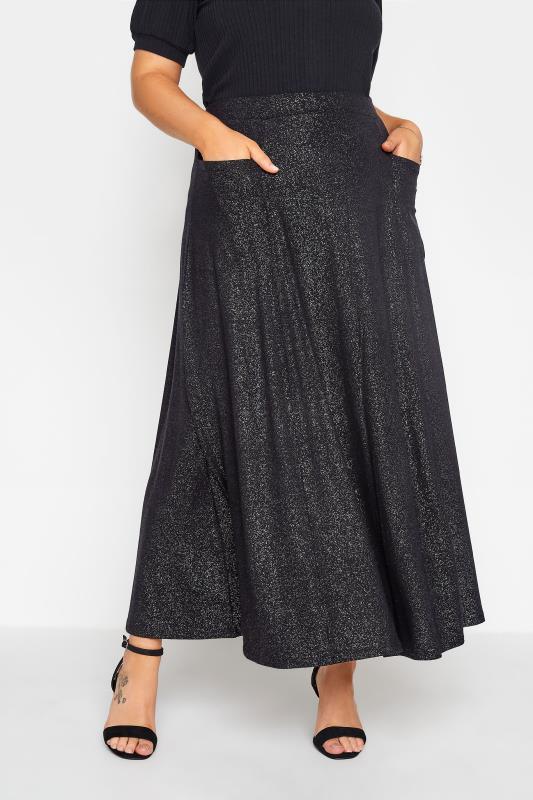Großen Größen  Black Foil Print Skirt