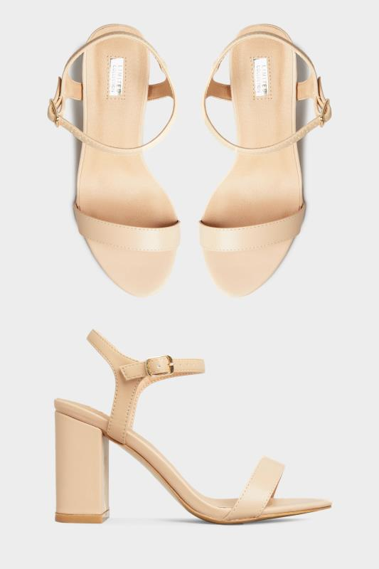 Plus Size  LIMITED COLLECTION Nude Block Heeled Sandals In Extra Wide Fit