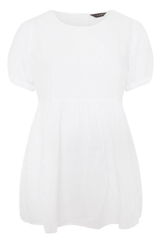 Plus Size  White Dip Back Peplum Top