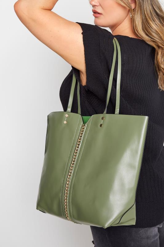 Green Chain Detail Tote Bag