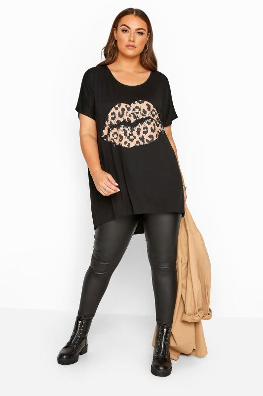 Black Leopard Print Lips Dipped Hem Top