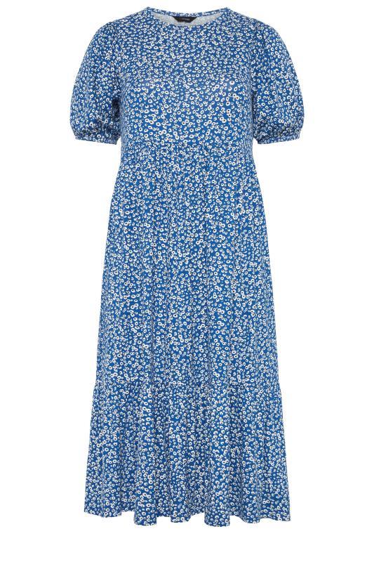 Blue Ditsy Frill Hem Puff Sleeve Midi Smock Dress_f.jpg