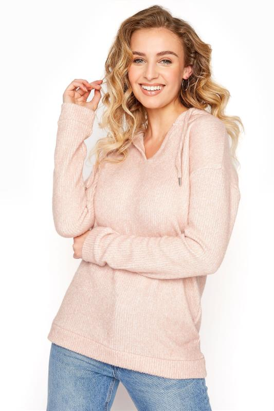 LTS Pink V-Neck Ribbed Hoodie