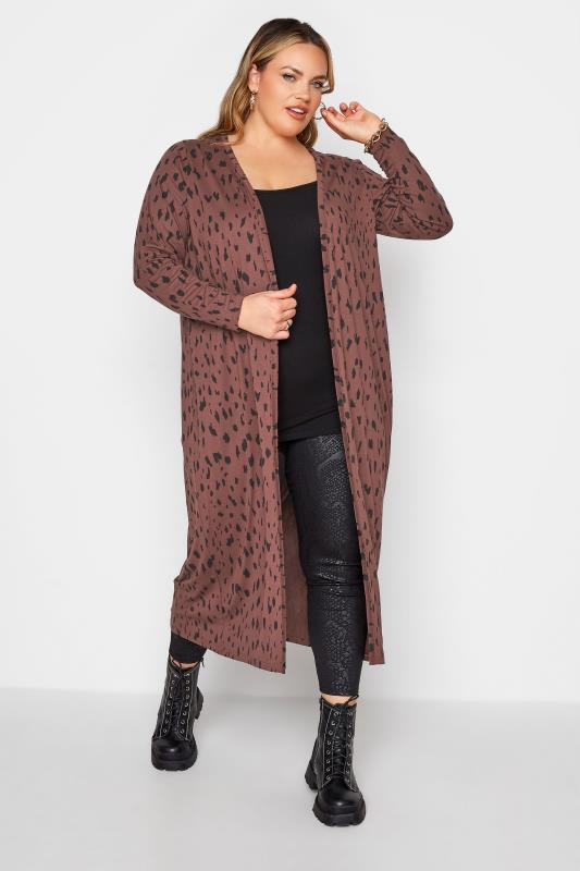 Plus Size  LIMITED COLLECTION Brown Animal Marking Longline Cardigan