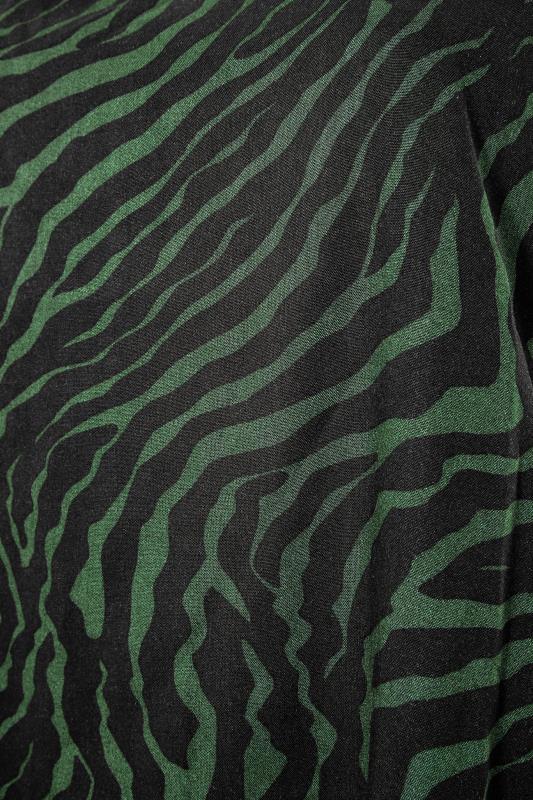 Khaki Animal Print Dip Back Blouse_S.jpg