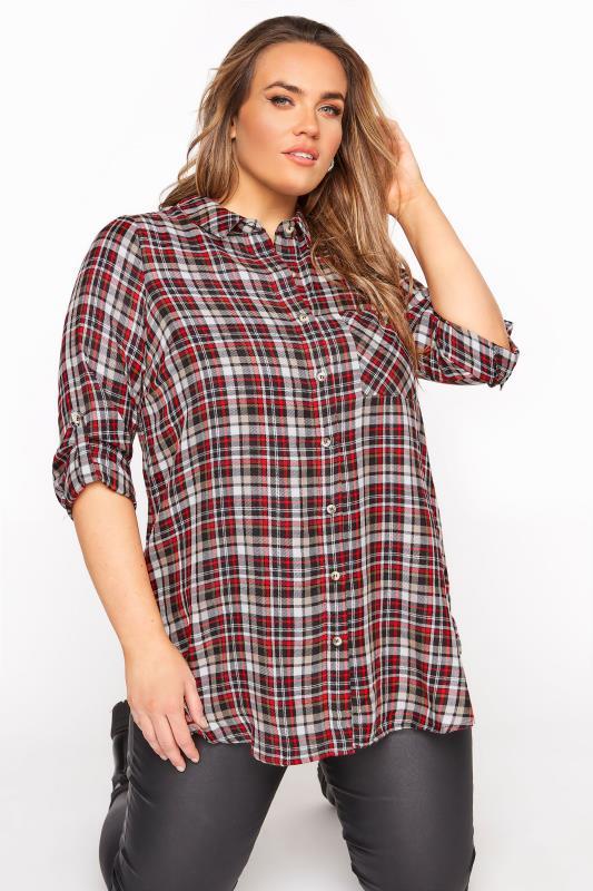 Red Mixed Check Boyfriend Shirt