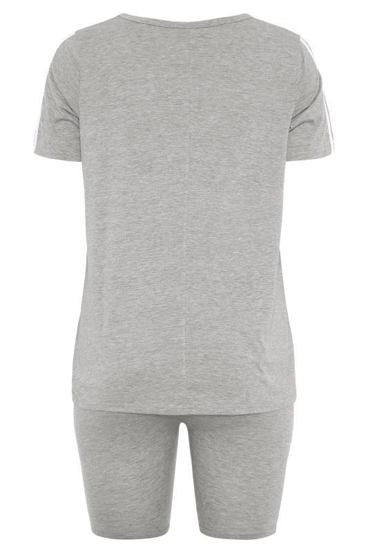BUMP IT UP MATERNITY Grey Stripe T-shirt & Shorts Set_bk.jpg