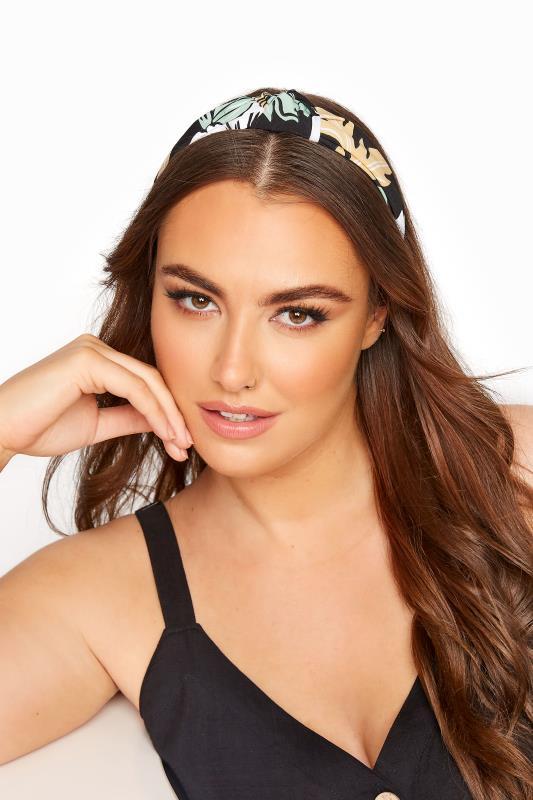 Plus Size  Black Palm Leaf Knot Headband