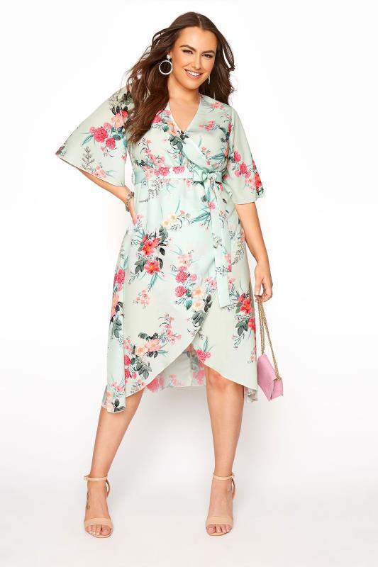 YOURS LONDON Sage Floral Wrap Dress_B.jpg