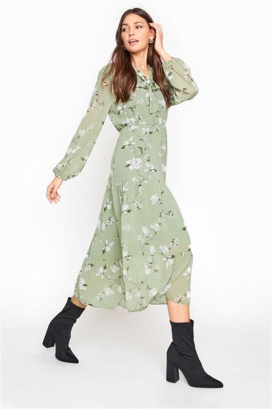 Tall  LTS Sage Green Floral Tiered Smock Midi Dress