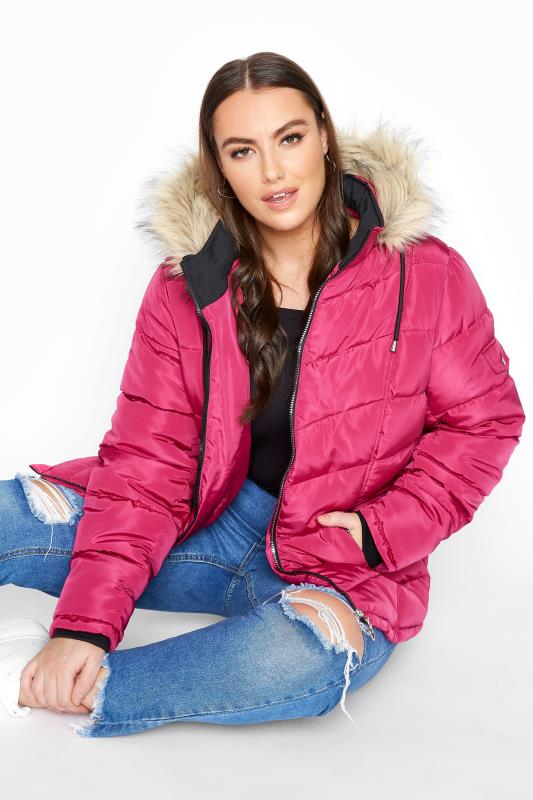Plus Size  Pink Padded Puffer Jacket With Faux Fur Trim