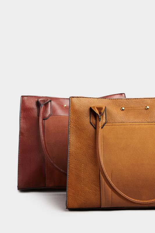 Khaki Faux Vegan Suede Panel Shoulder Bag