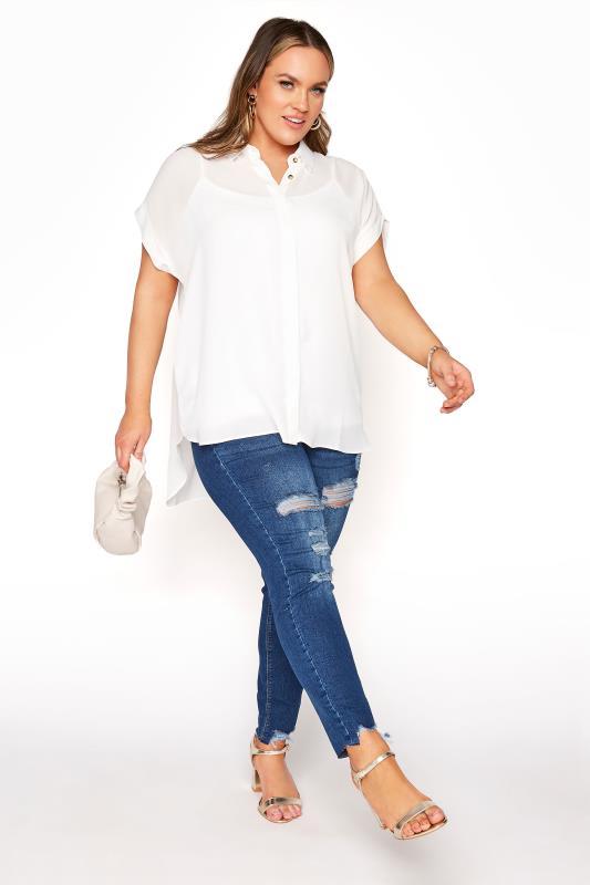 White Short Grown On Sleeve Dipped Hem Shirt_B.jpg