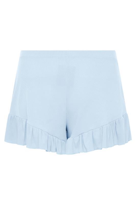 LIMITED COLLECTION Light Blue Frill Ribbed Pyjama Shorts_BK.jpg