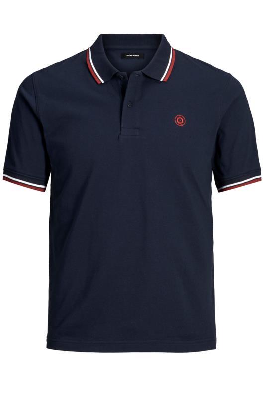 Plus Size Polo Shirts JACK & JONES Navy Cotton Pique Polo Shirt