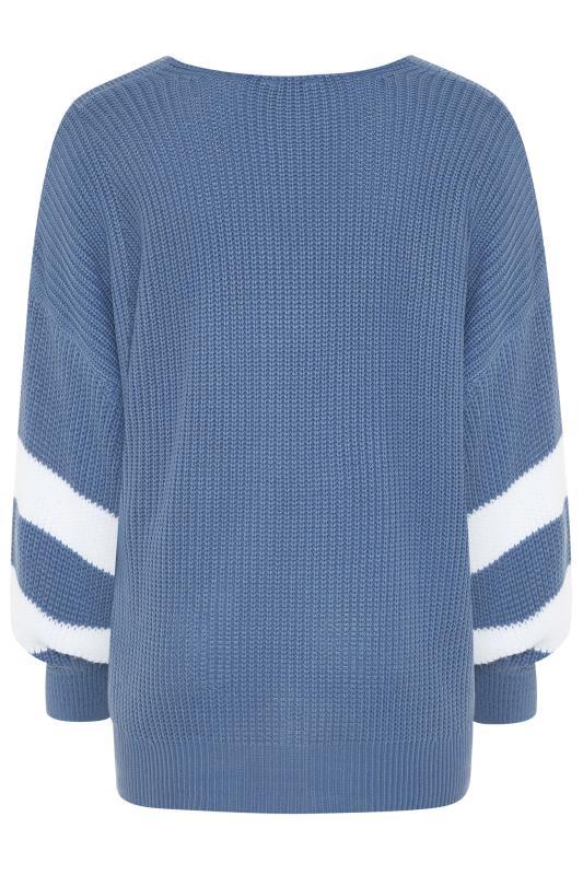 Blue Varsity Stripe Knitted Jumper_BK.jpg
