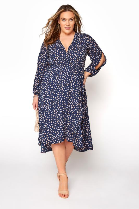 YOURS LONDON Navy Dalmatian Print Wrap Dress_B.jpg