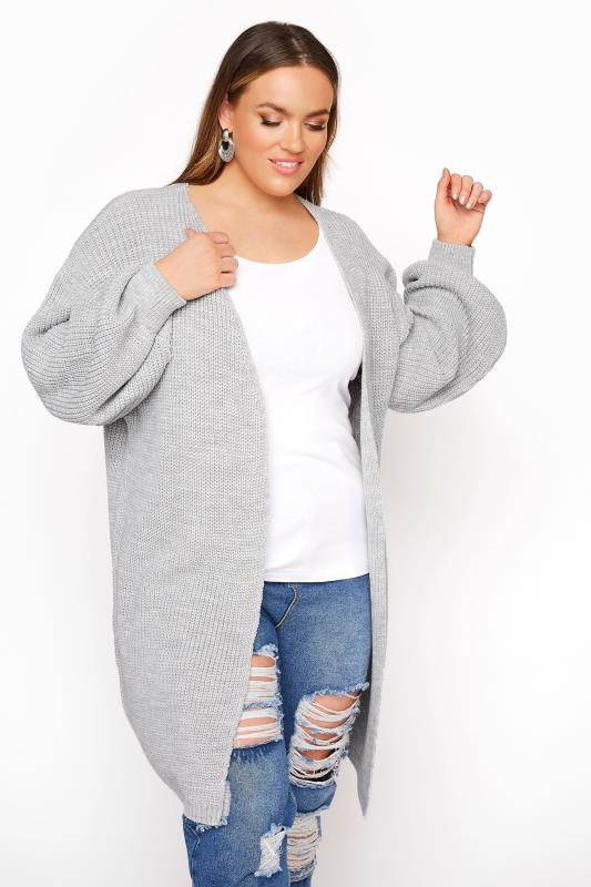 Plus Size  Grey Oversized Balloon Sleeve Knitted Cardigan