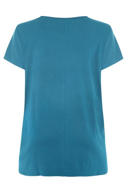 Teal Blue Dipped Hem T-Shirt_BK.jpg