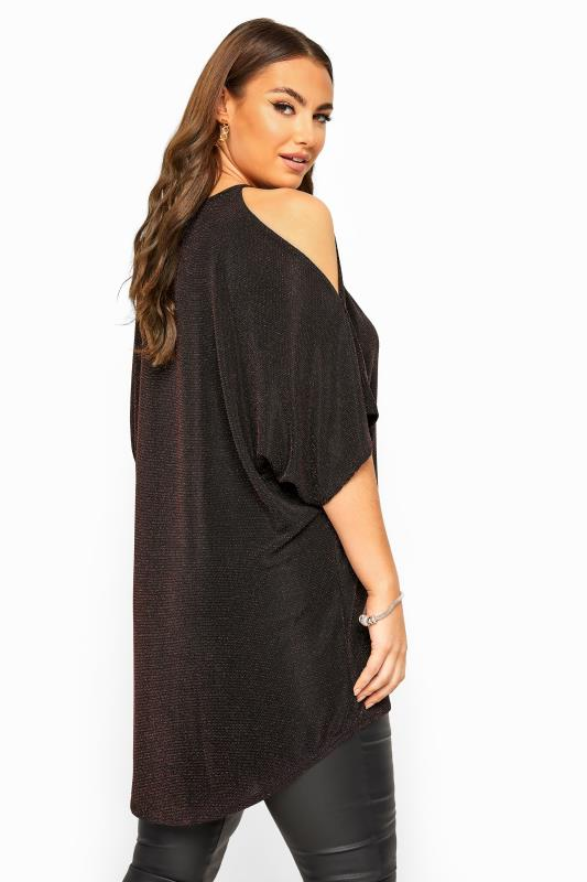 YOURS LONDON Black Metallic Keyhole Cold Shoulder Cape Top